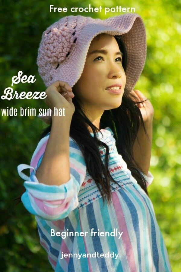 Wide brim summer sun hat free free crochet pattern beginner friendly