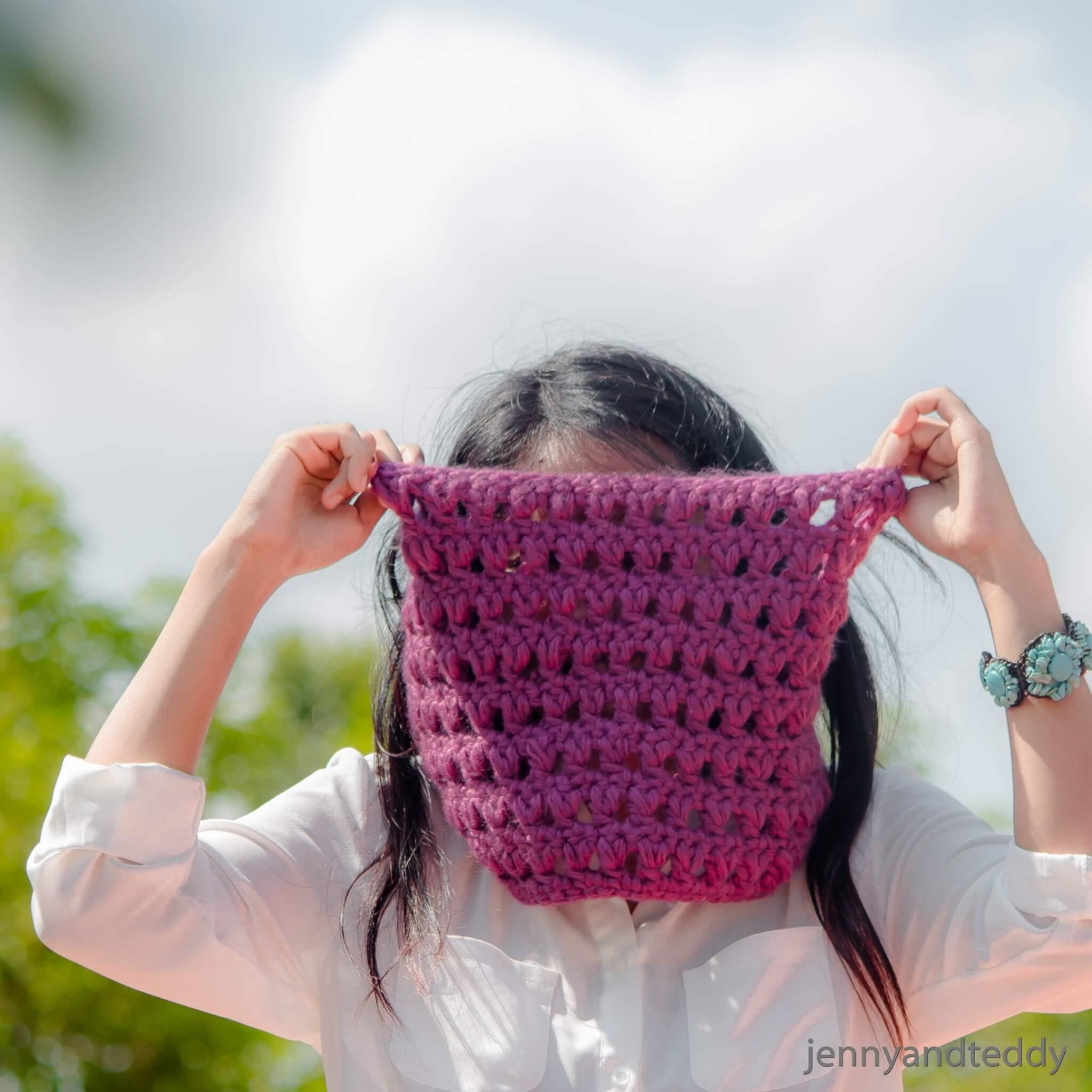 easy cowl purple delight free crochet pattern
