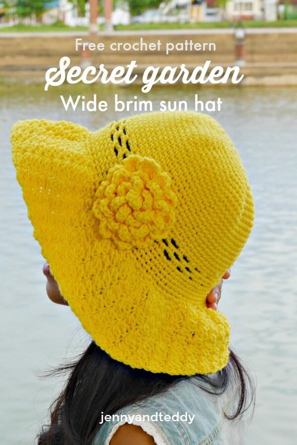 fre crochet wide brim sun hat secret garden how to tutorial for beginner