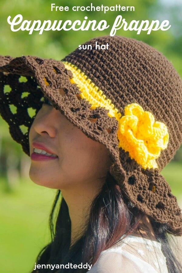 Cappuccino Frappe Wide Brim Crochet Sun Hat Free Pattern