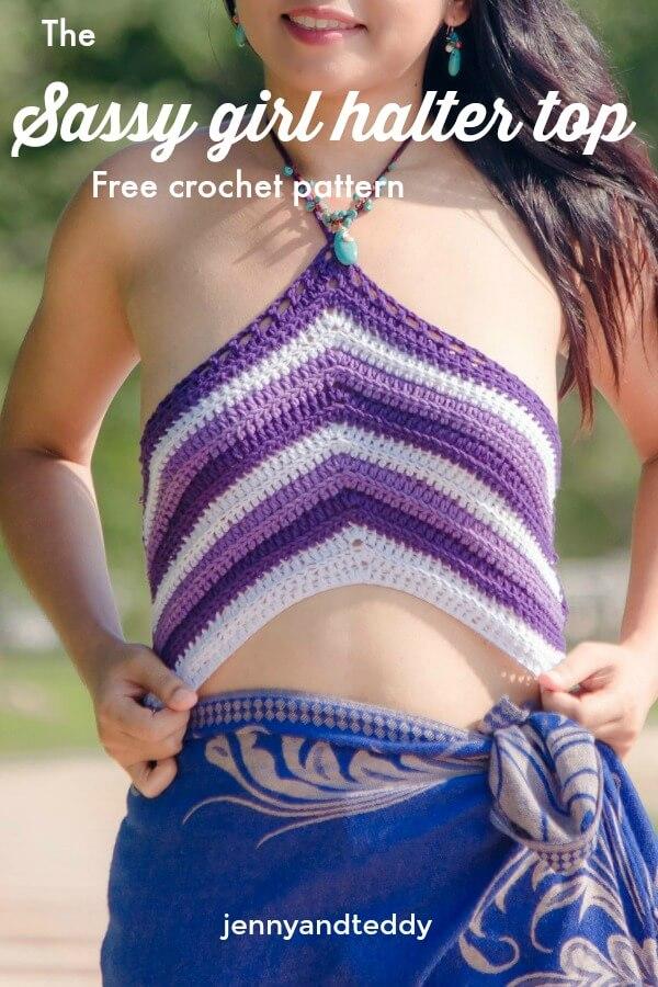 the sassy girl halter crop top bikini top free crochet pattern easy1