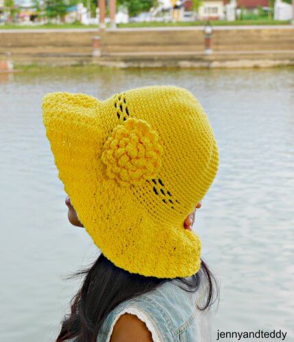 wide brim crochet sun hat tutorial