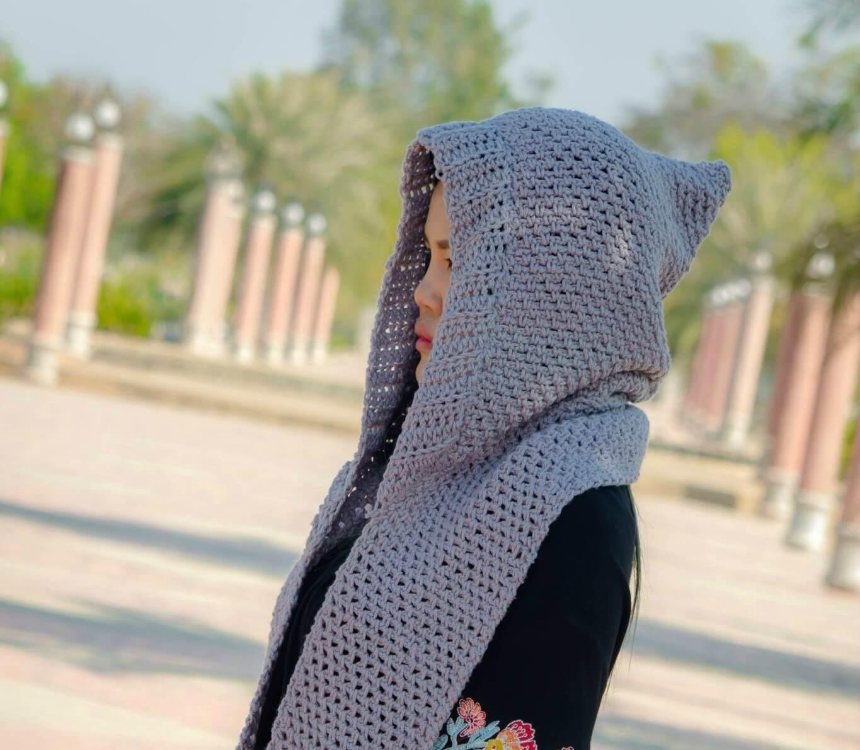 Chloe Hooded Pockets Scarf Free Crochet Pattern