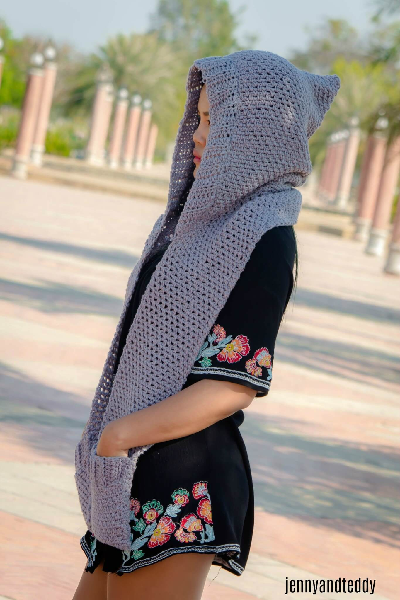 Chloe Hooded Pockets Scarf Free Crochet Pattern Jennyandteddy