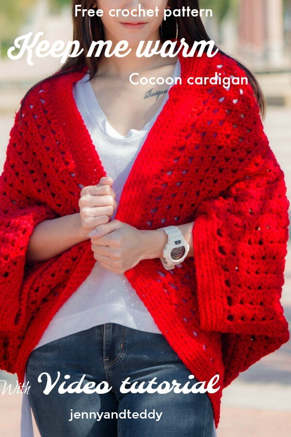 Keep me warm cocoon cardigan free crochet pattern with video tutorial by jennyandteddy