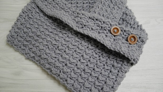 crochet bulky quick cowl button with collar free pattern
