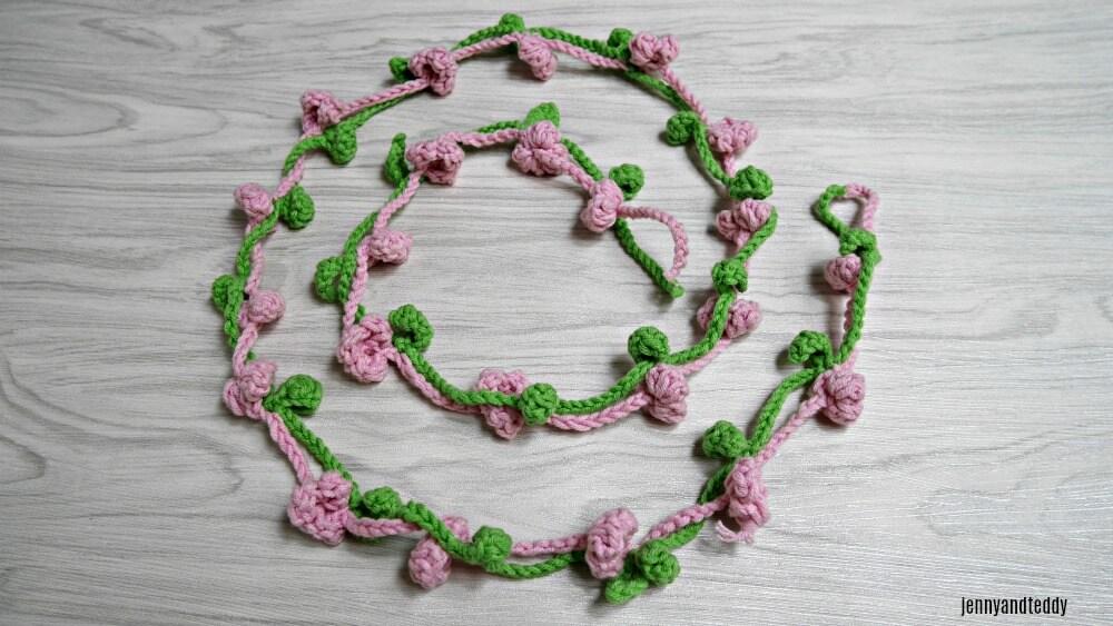 flower crown free crochet pattern 6