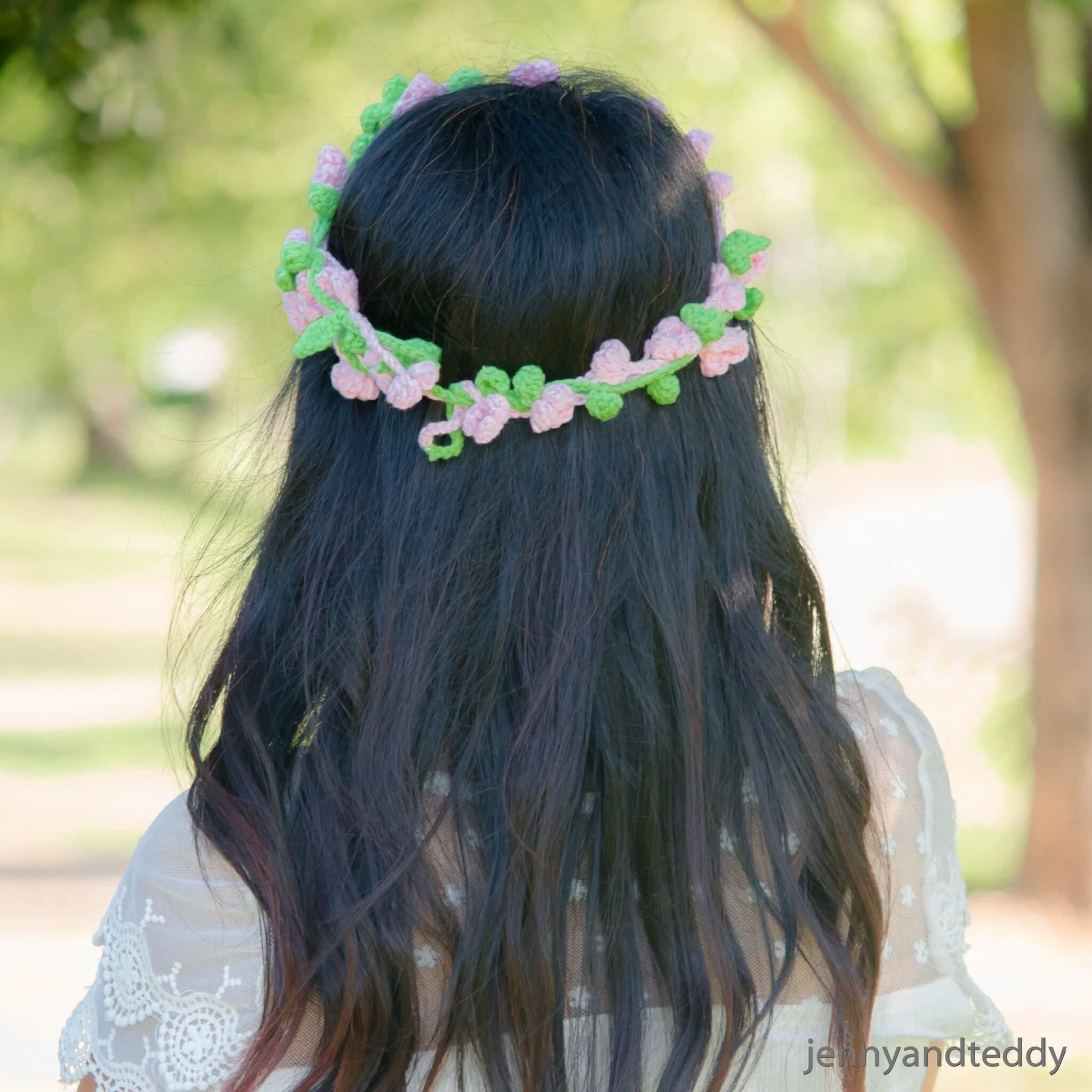 flowers crown hair band free crochet pattern