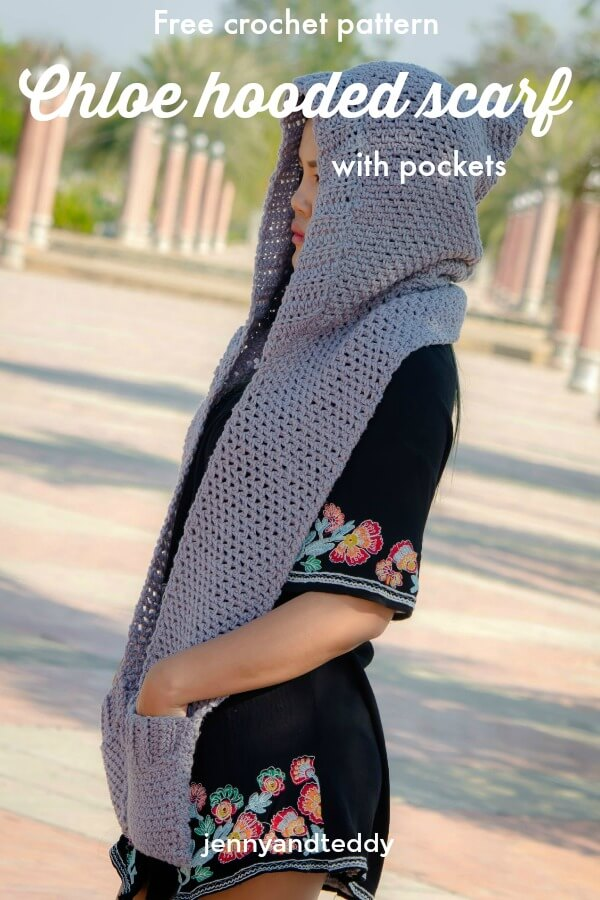 Chloe Hooded Pockets Scarf Free Crochet Pattern