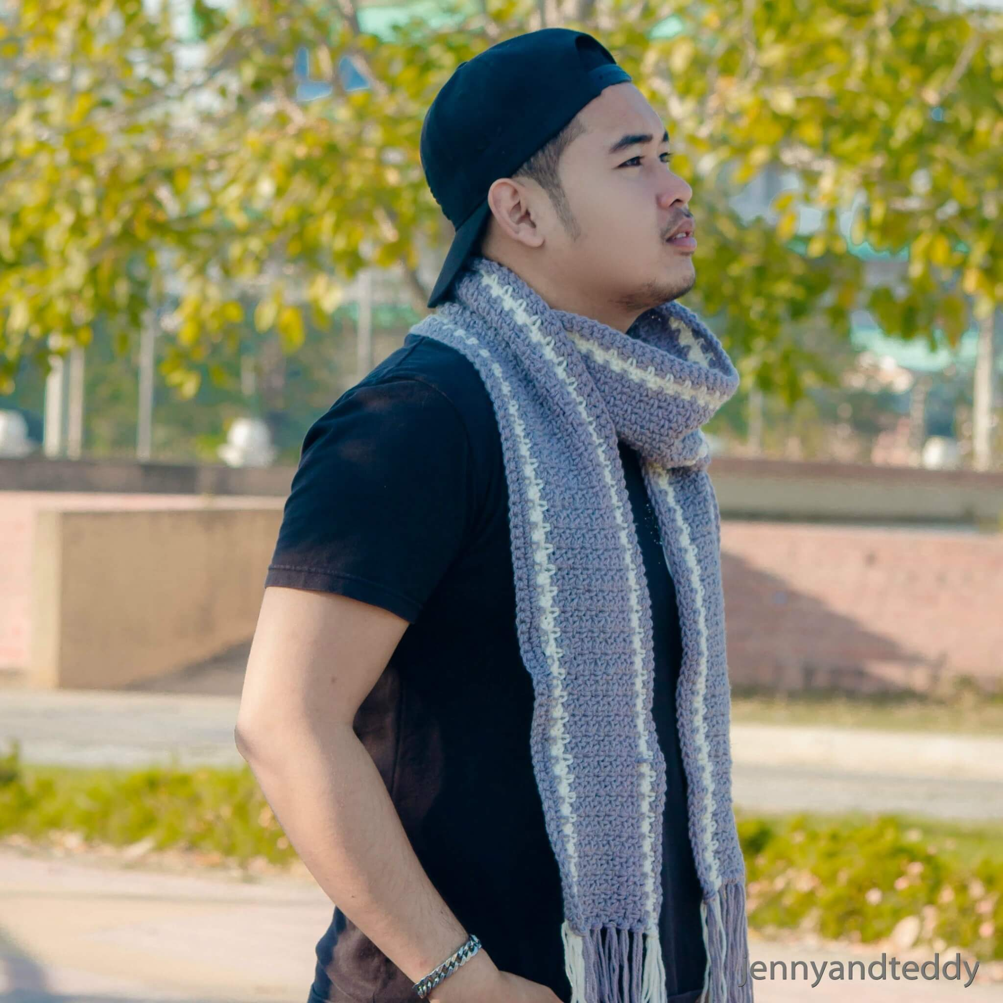 free crochet pattern men scarf easy tutorial beginner grey color outfit