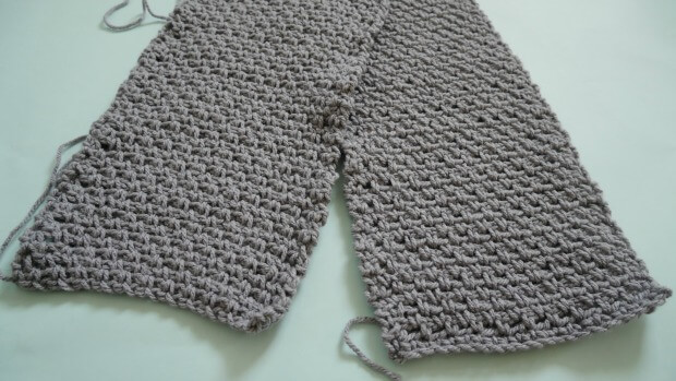 hoody scarf wth pocket crochet moss stitch