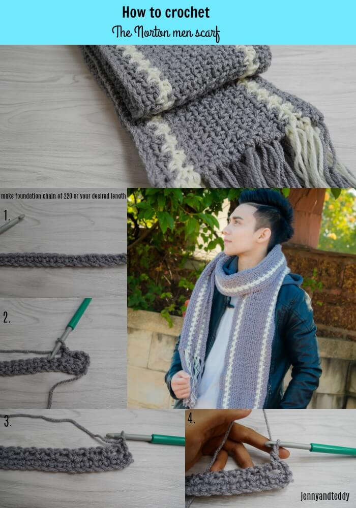 how to crochet te norton men scarf free pattern beginner friendly by jennyandteddy