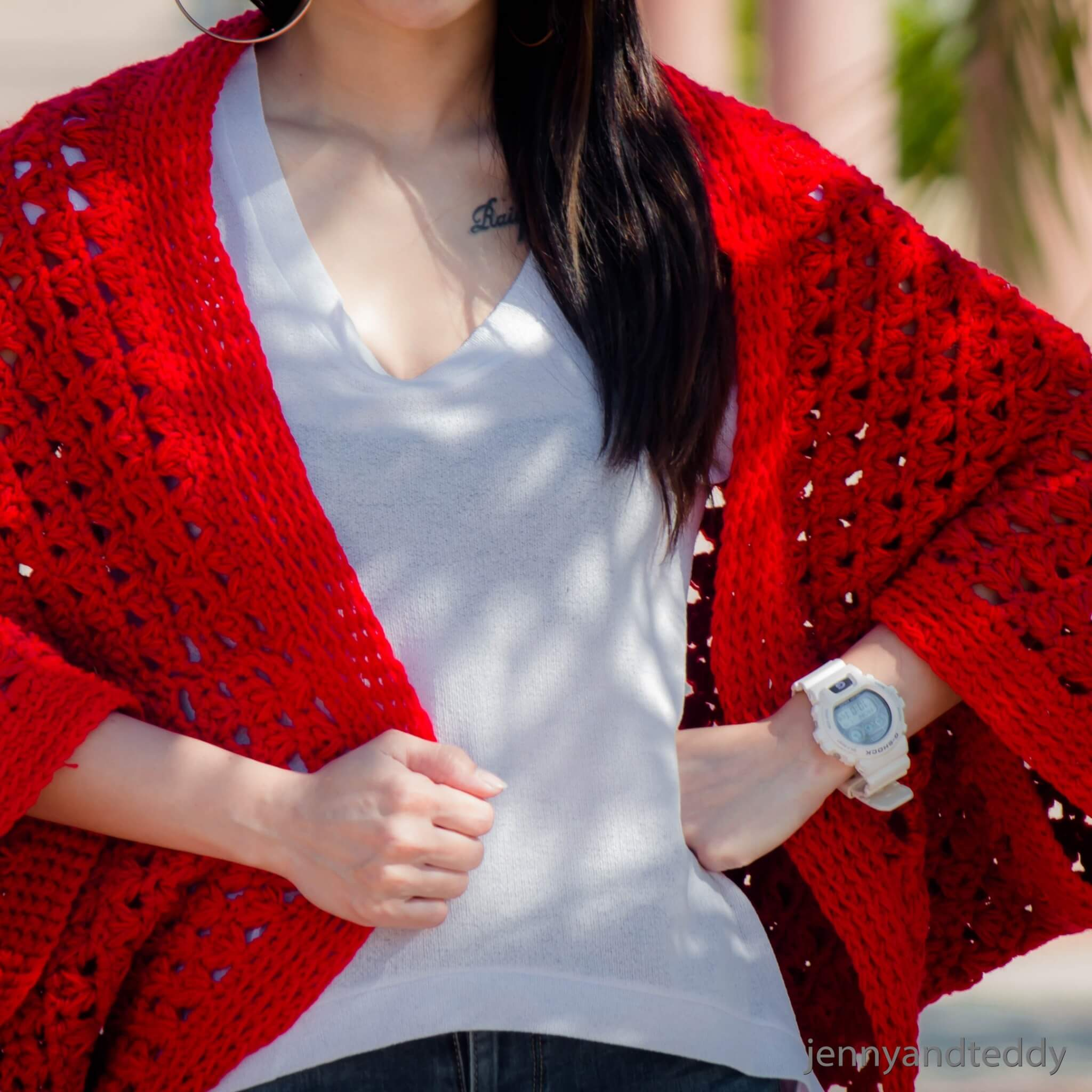 keep me warm easy cocoon crochet cardigan free pattern with video tutorial