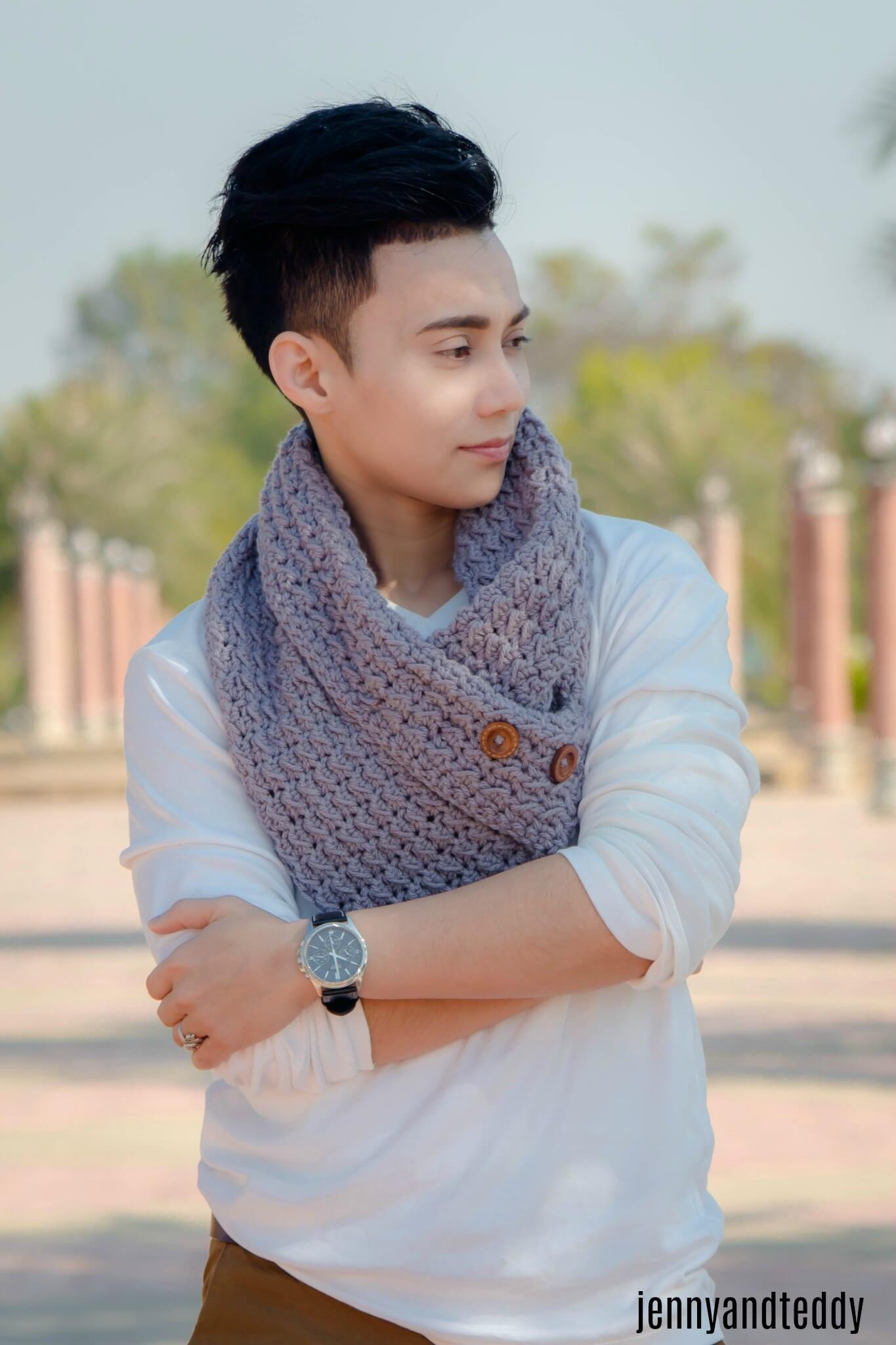men cowl free crochet pattern easy tutorial