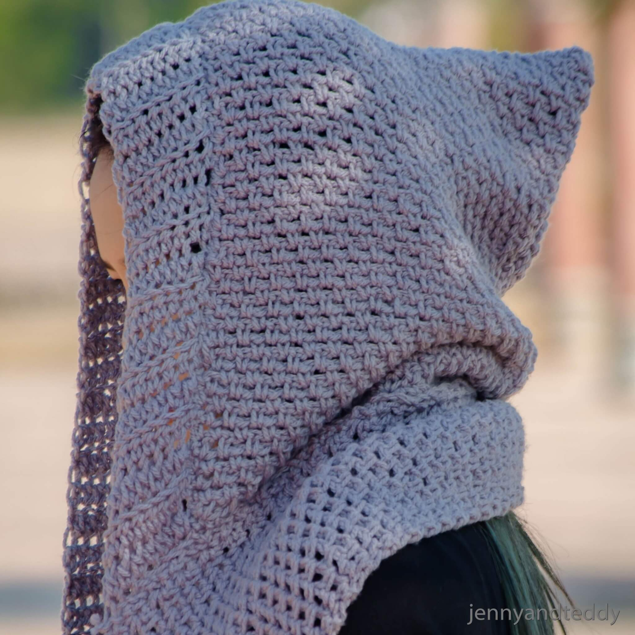 scoodie hooded scarf with pockets free crochet pattern