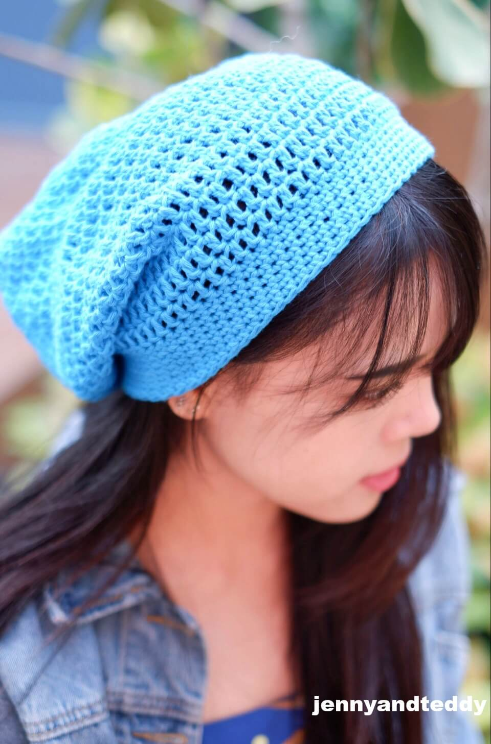 simple double crochet slouchy beanie hat free crochet pattern
