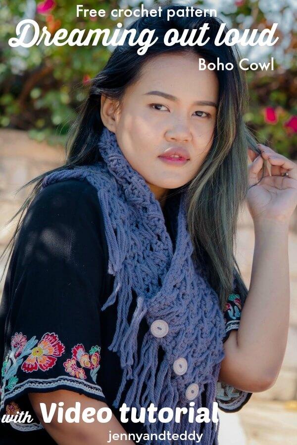 Dreaming out loud boho style crochet cowl free pattern by jennyandteddy