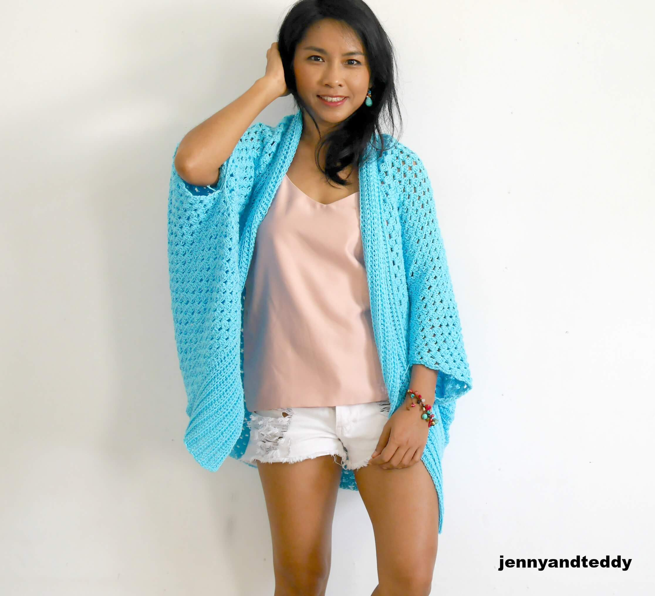 Blue lagoon crochet easy cardigan free pattern beginner friendly by jennyandteddy