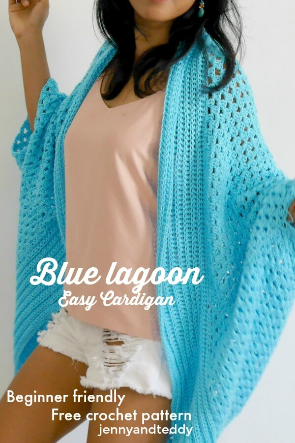 blue lagoon spring time easy crochet rectangle cardigan free pattern by jennyandteddy