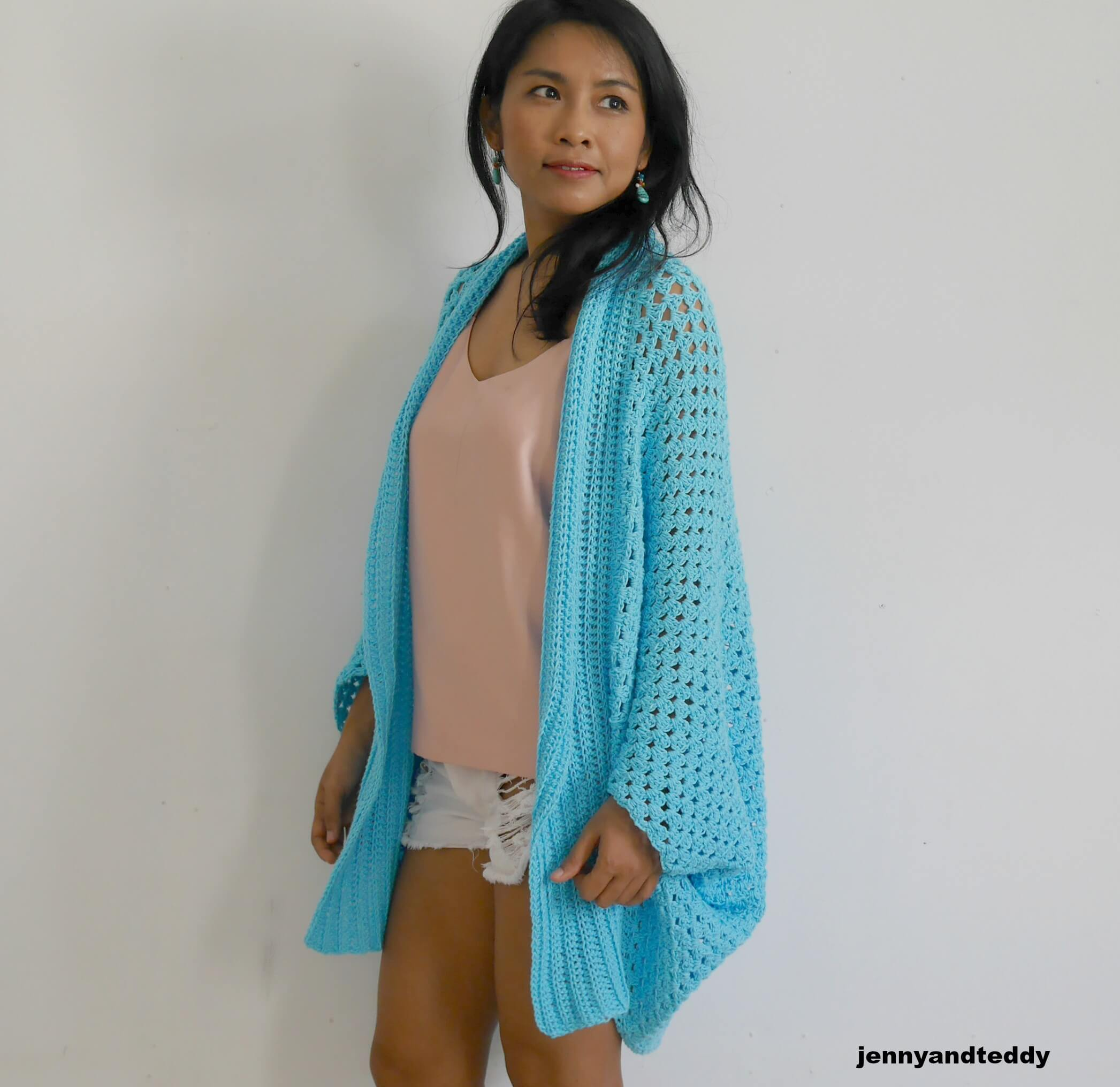 beginner rectangle cardigan make with cotton yarn perfect for spring