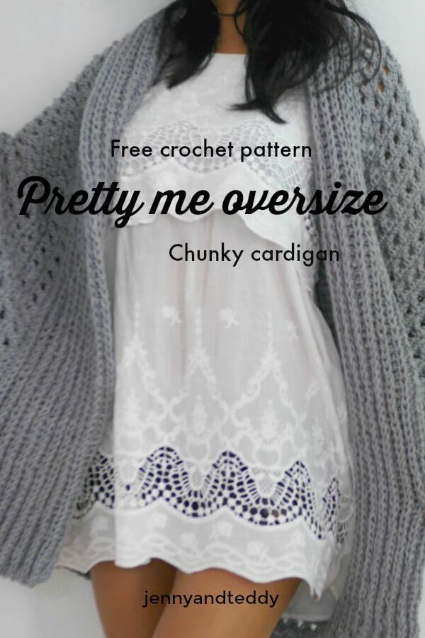 pretty me oversize chunky cardigan free crochet pattern by jennyandteddy