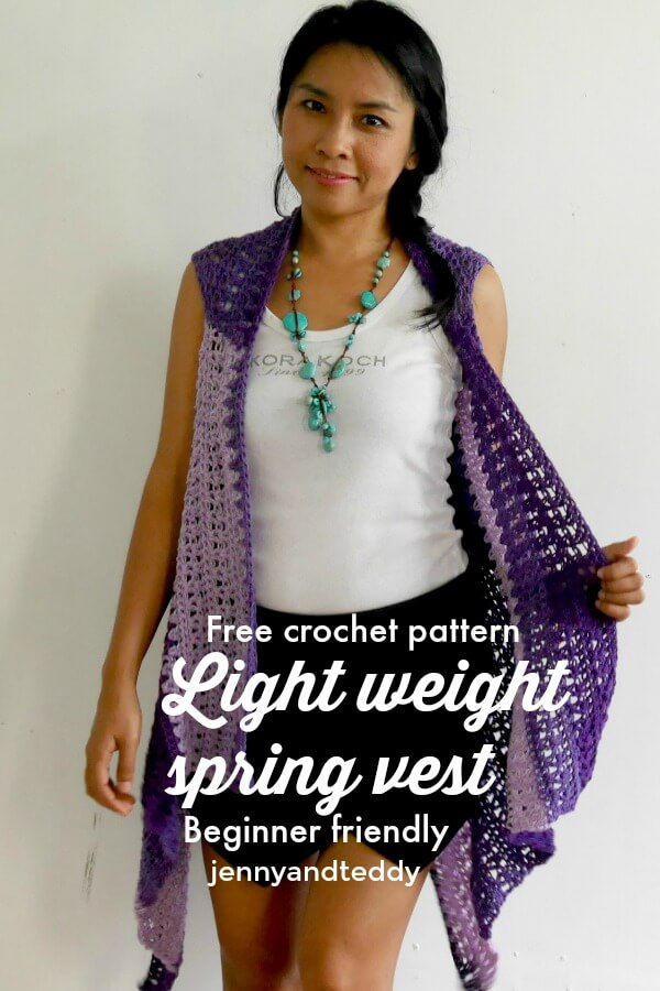 beginner light weight spring vest free crochet pattern by jennyandteddy