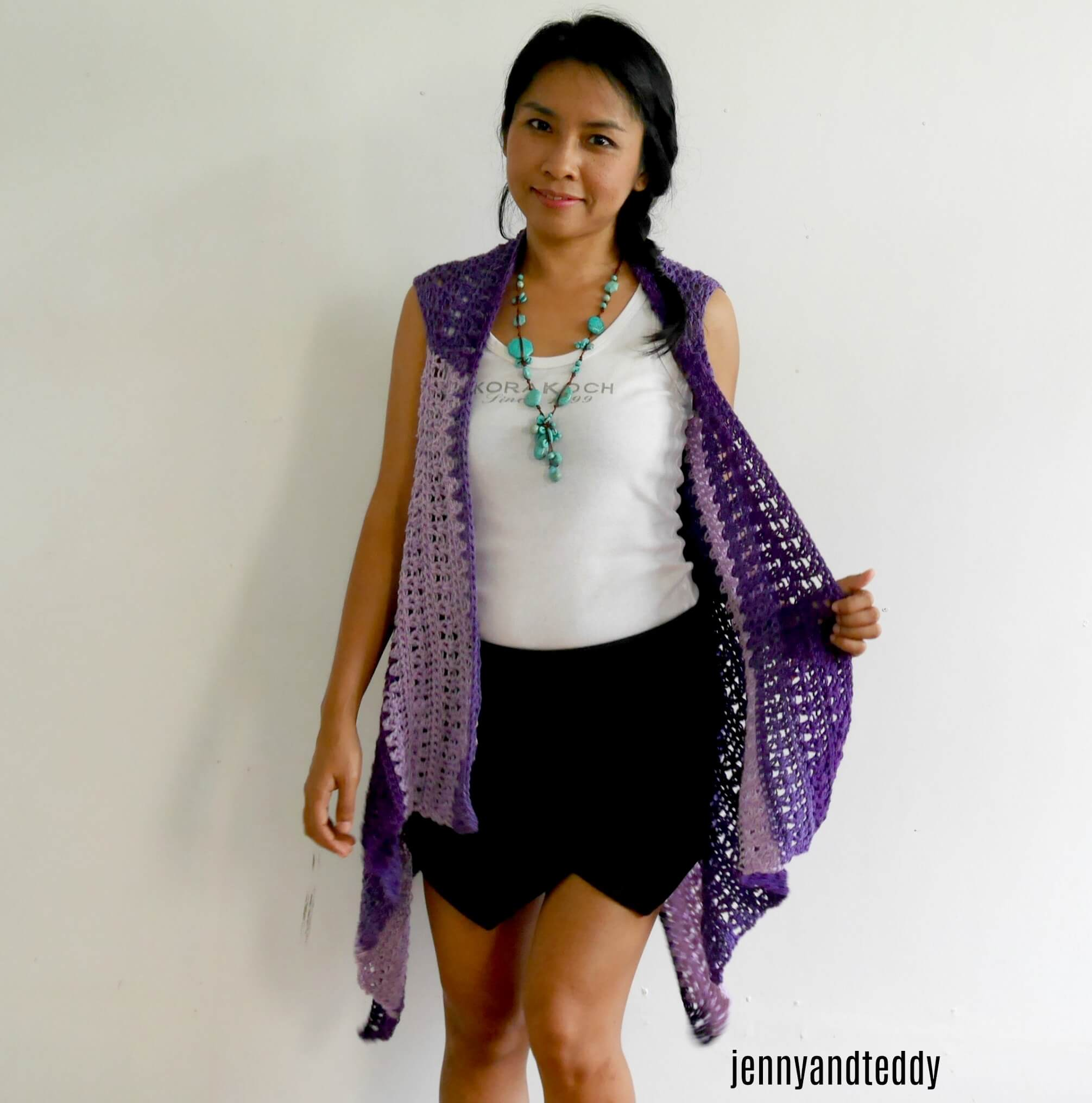 light weight crochet vest double v stitch easy tutorial free pattern
