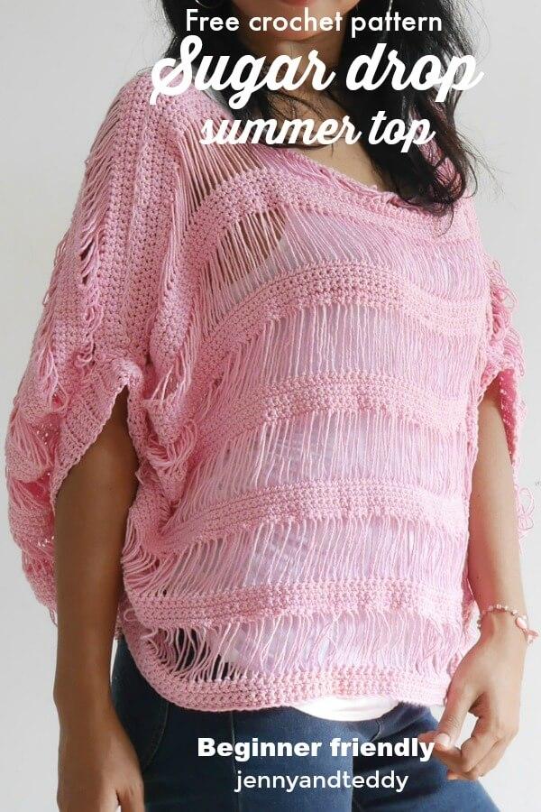 sugar drop summer top free crochet pattern beginner friendly