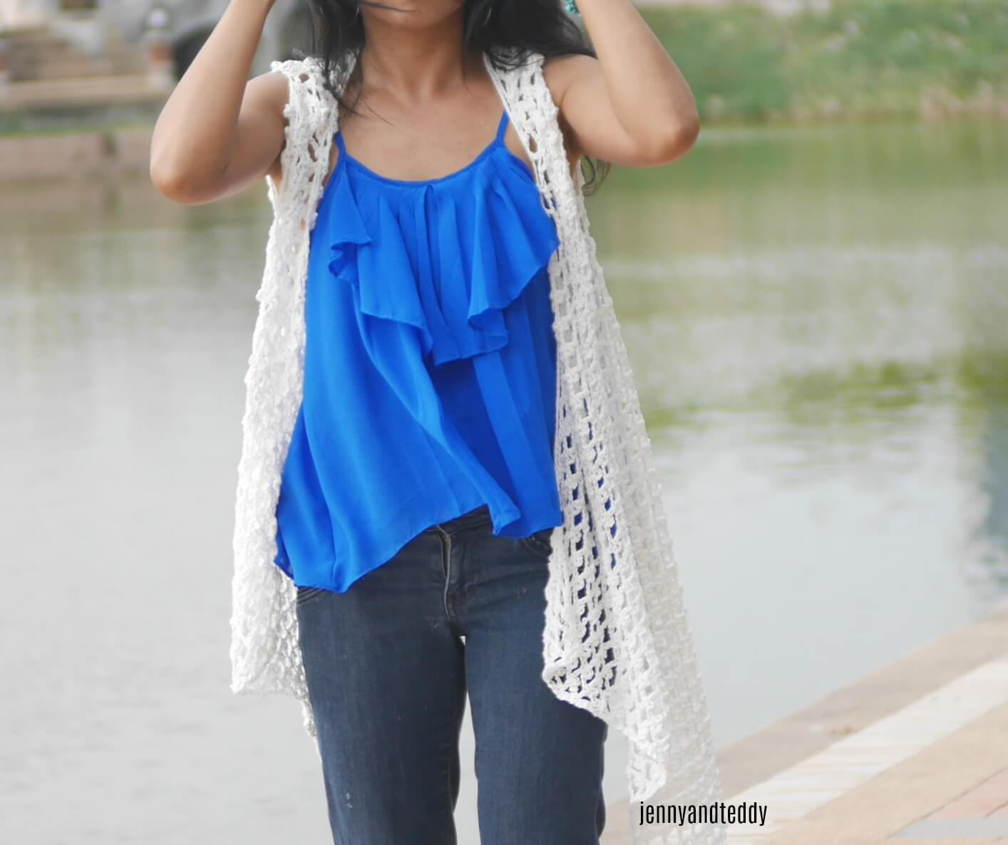 cotton lacy summer vest free crochet pattern and tutorail made from 3 rectangle