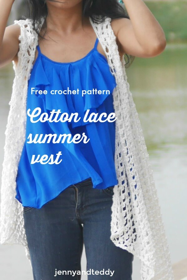 free crochet pattern cotton lace summer vest made from 3 rectangles by jennyandteddy