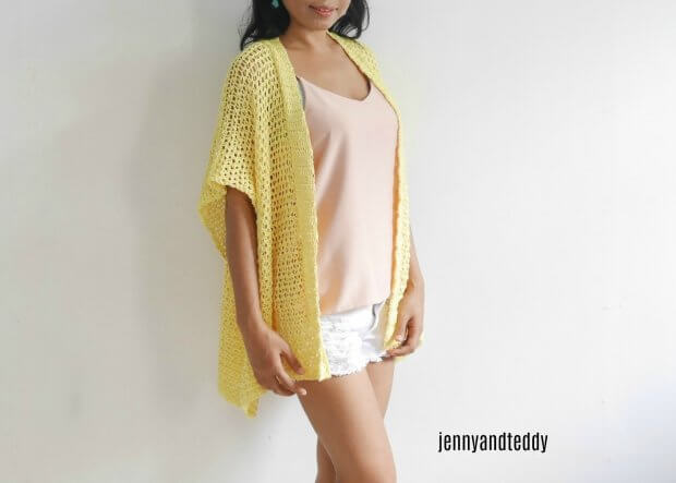 22lemonade cotton kimono crdigan free crochet pattern