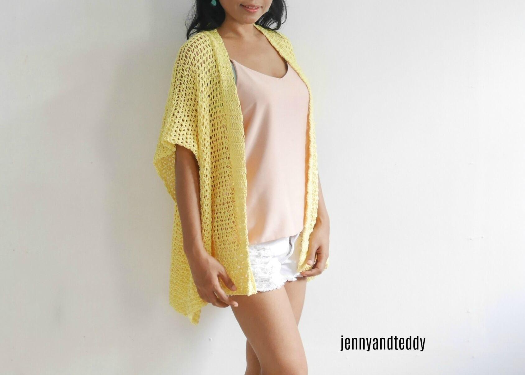 Lemonade Summer Crochet Kimono Cardigan Free Pattern