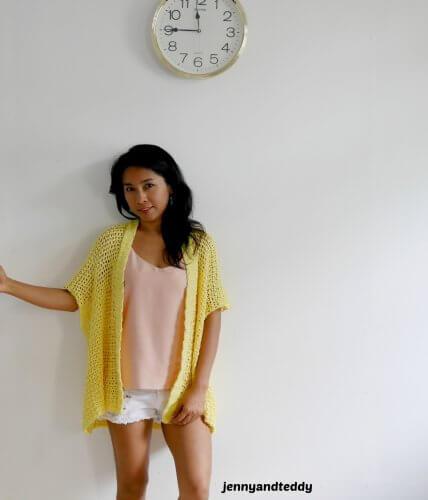 beginner cotton summer crochet kimono free pattern