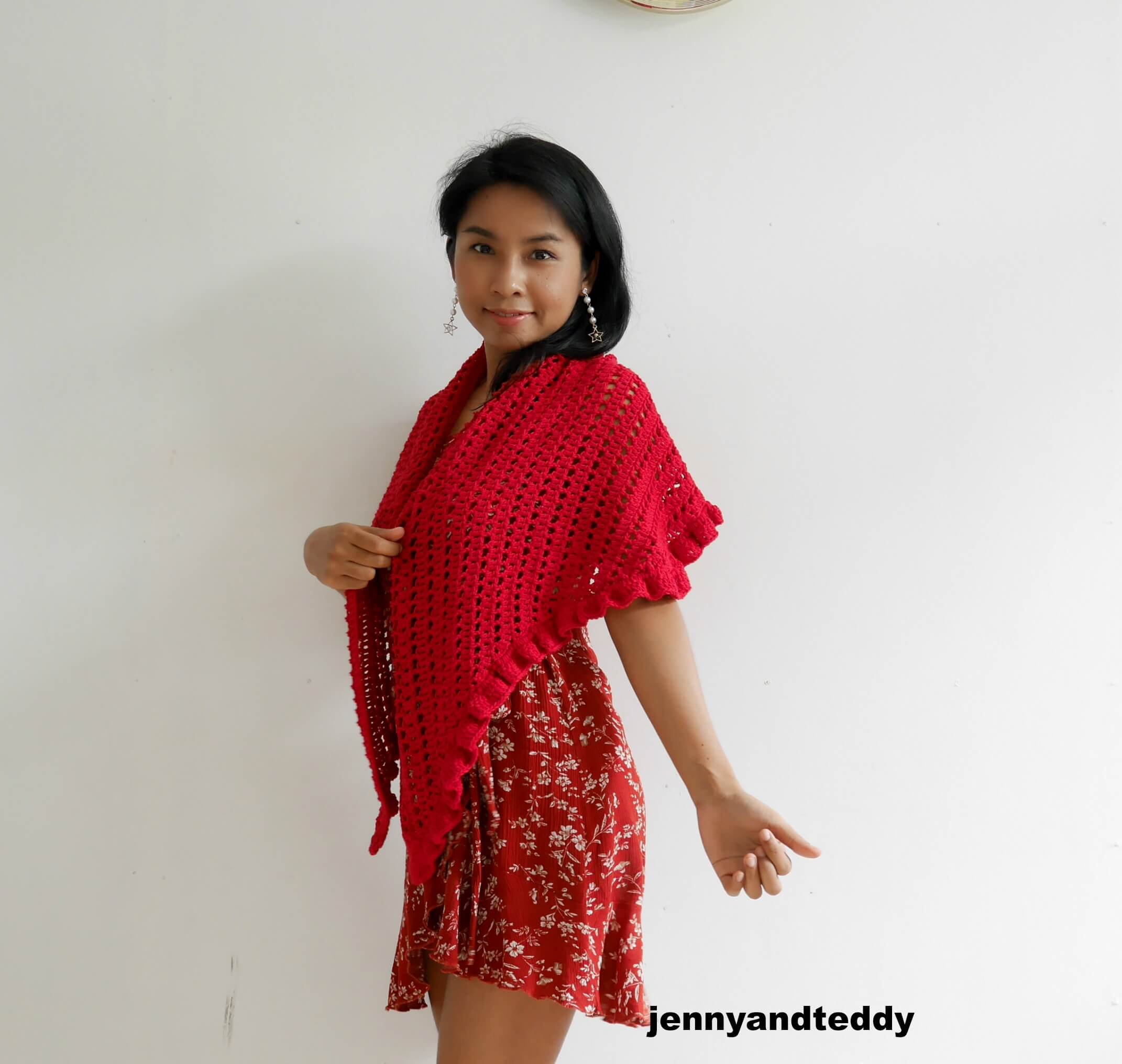 beginner raffle shawl free crochet pattern