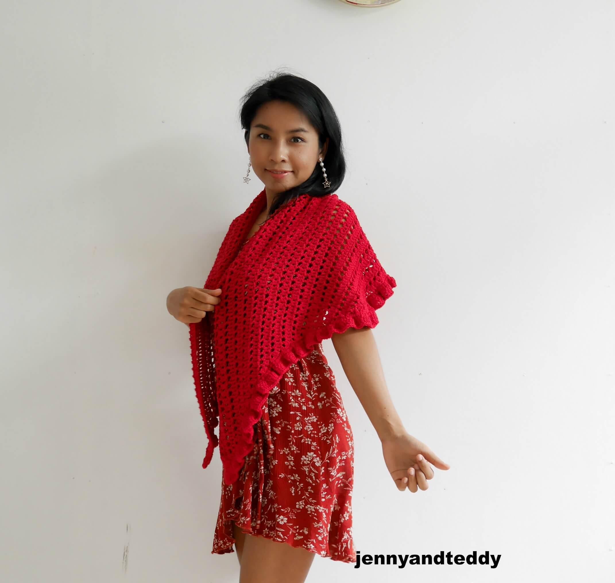 beginner raffle shawl free crochet pattern