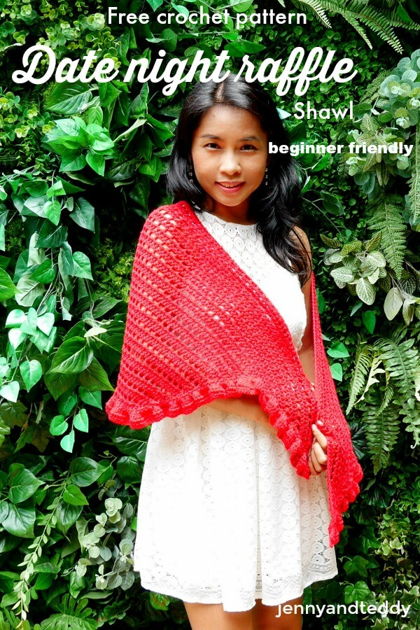 date night raffle shawl beginner friendly by jennyandteddy free crochet pattern