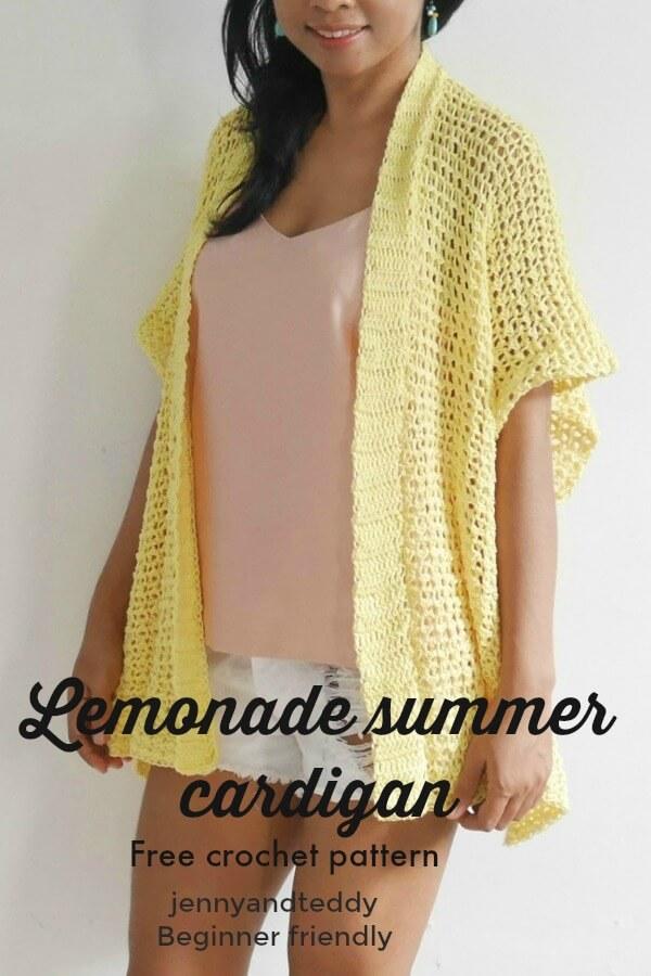 lemonade summer cardigan free crochet pattern beginner friendly