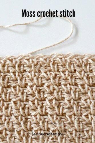 moss stitch crochet tutorial beginner friendy by jenyyandteddy