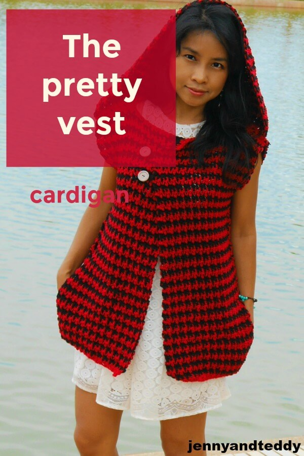 the pretty vest button wrap crochet cardigan made from bulky yarn houndtooth stitch easy by jennyandteddy