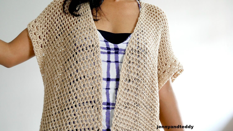 vacation cotton light weight kimono cardigan free crochet pattern