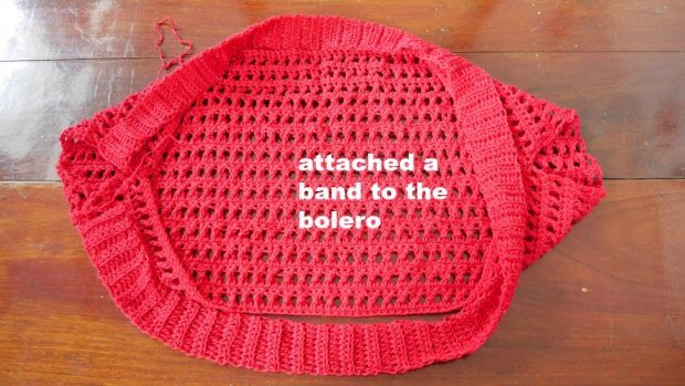attached ribbing band to bolero