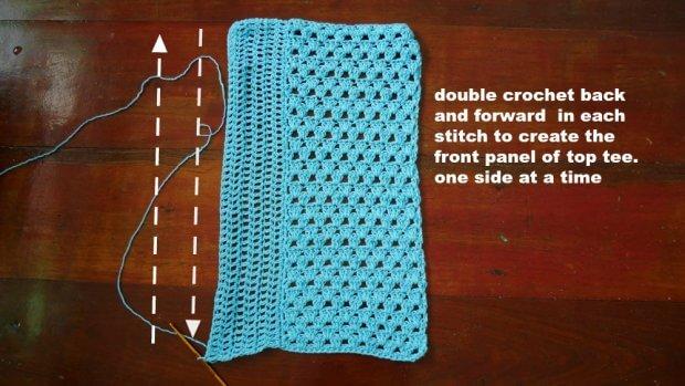 crochet top tee front panel
