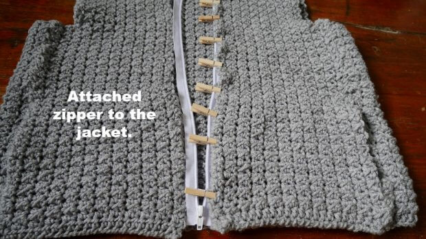 how to attached zipper to crochet clothes