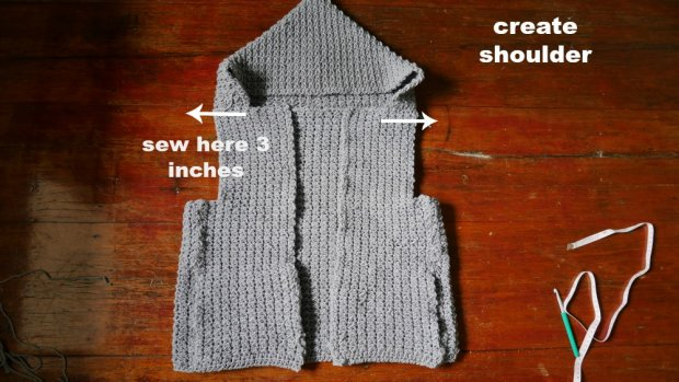 how to make crochet hooded jacket with zipper easy
