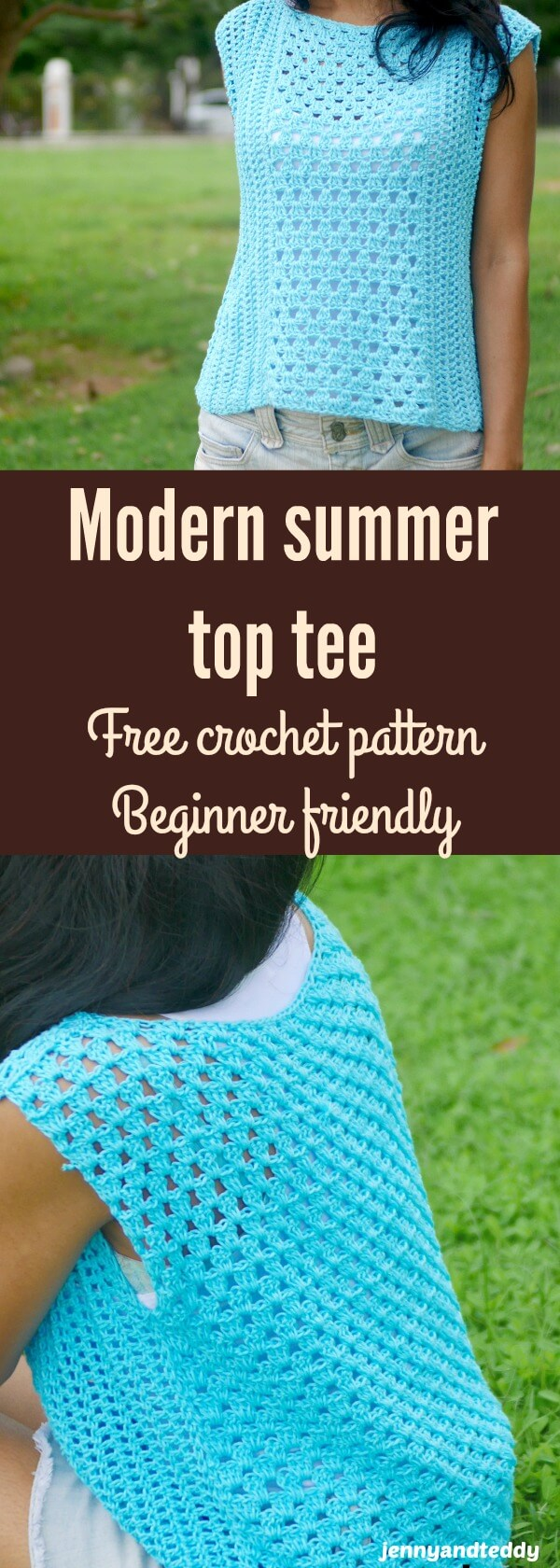 modern cotton summer top tee free crochet pattern beginner friendly by jennyandteddy