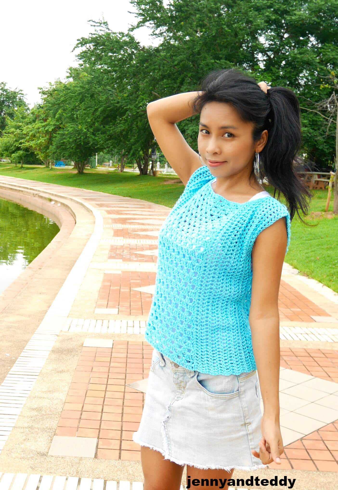 modern crochet cotton summer top tee for beginner