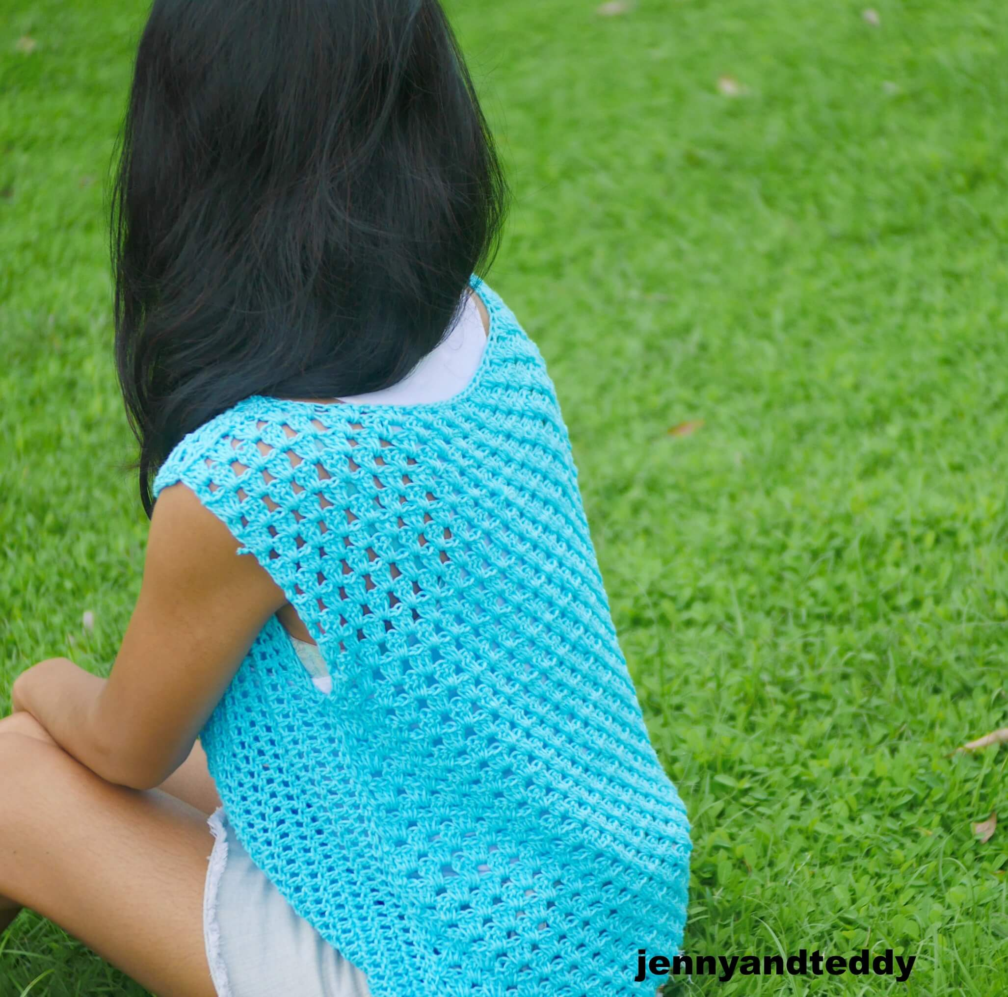 summer crochet top tee easy for beginner by jenny andtedy