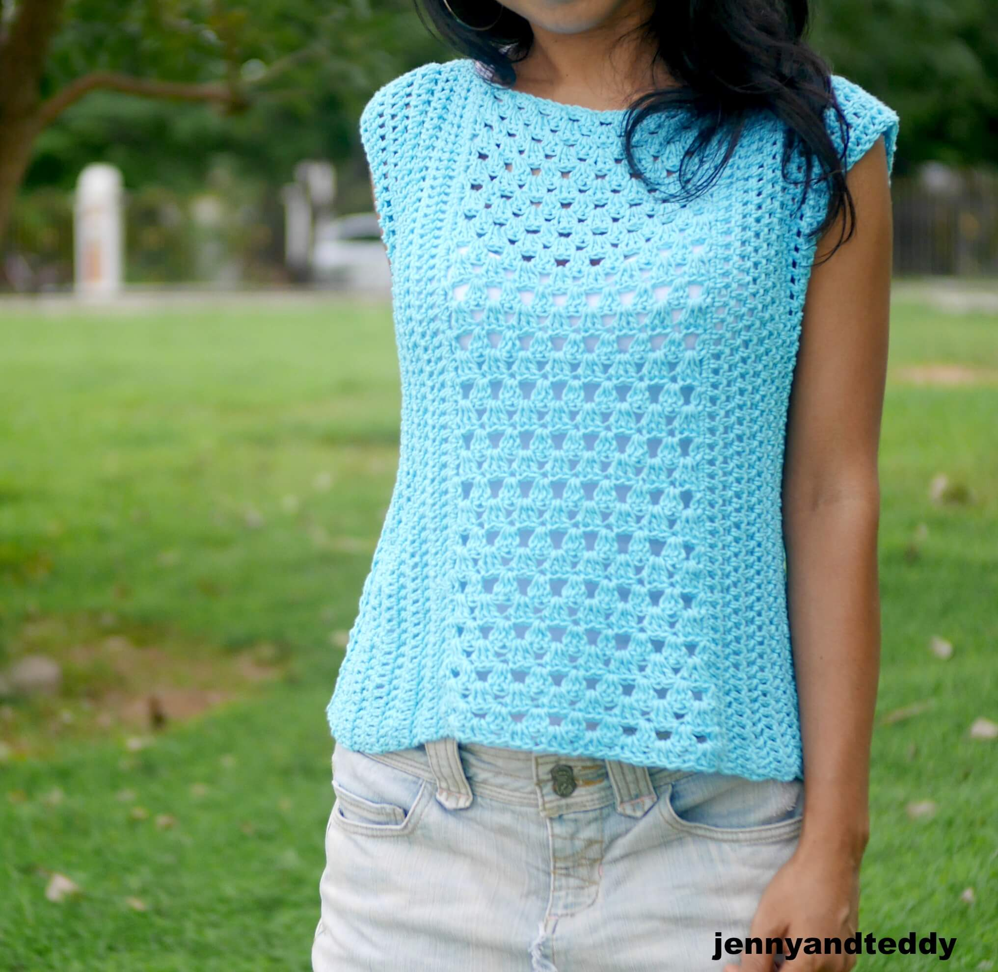 summer crochet top tee easy for beginner
