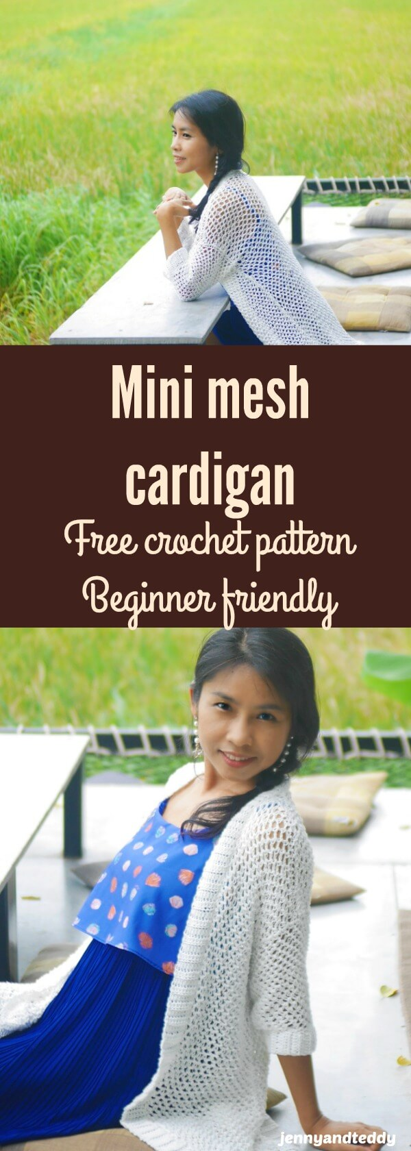 mini mesh cardigan free crochet pattern beginner friendly