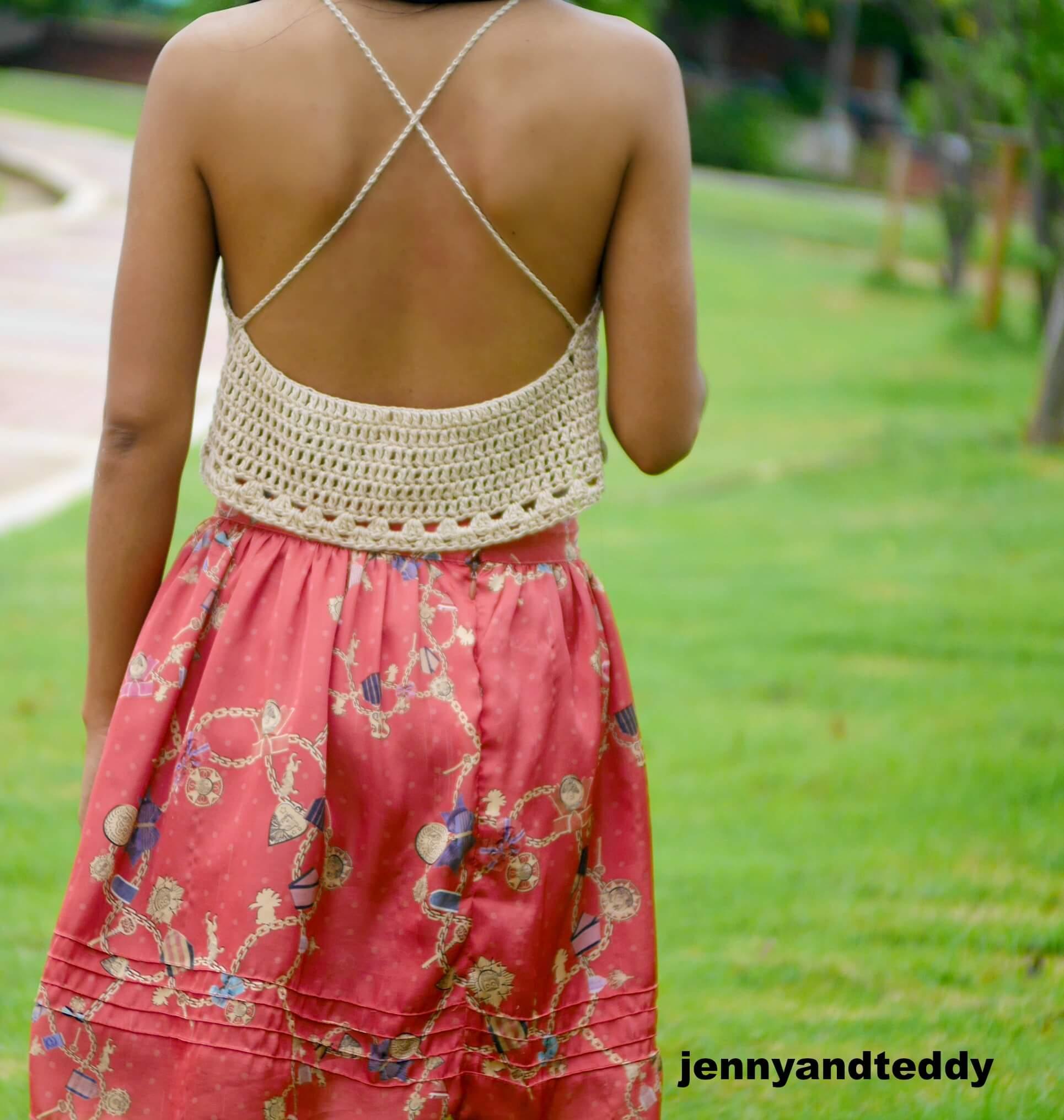 summer crop top free crochet pattern
